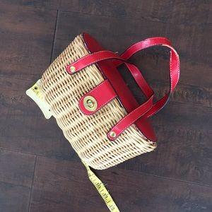 Handbags - Red straw pinup purse